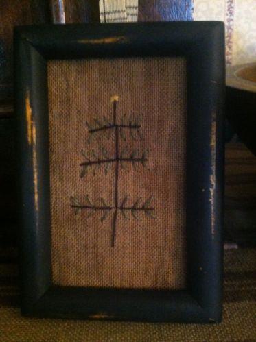 Primitive Christmas Tree Sampler Primitive Ornament Tuckaway Mini Stitchery | eBay