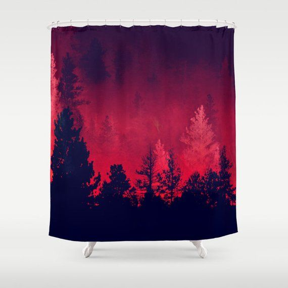 Fabric Shower Curtain Red Wilderness Nature Trees Outdoors Photography Rdelean My Etsy Shop Fabric Shower Curtains Red Curtains Curtains