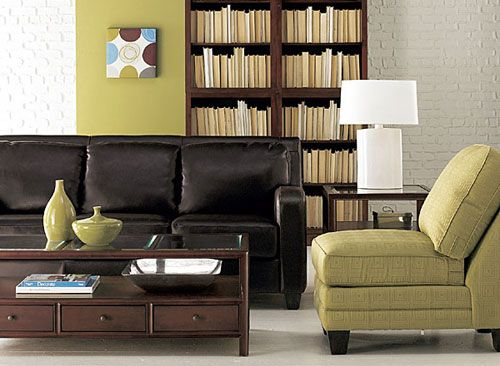 Looking for colours to go with my dark brown sofa...I think that a little chair in green with the walls, looks stunning.