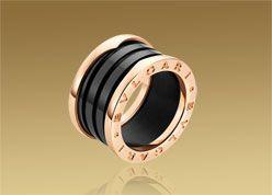 ring in pink gold with black ceramic bulgari
