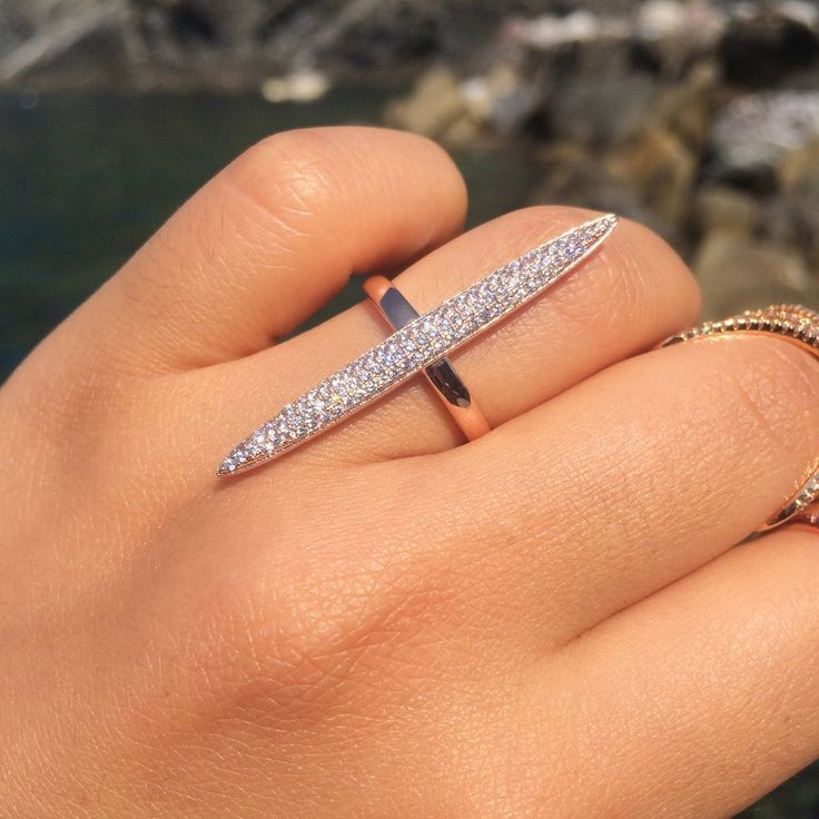 Zara Long Diamond Bar Ring stackable long ring design vertical diamond rings #longring #vertical #fingerrings #stackable #jewelry #trendy #ring #chic #trendy #jewelry
