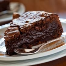 Flourless Chocolate Cake with Caramel Yoghurt. Sounds great, rich and good!