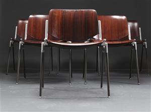 Lauritz.com - Moderna bord och stolar - Giancarlo Piretti, Castelli, 6 st stolar i jakaranda och aluminium (6) - SE, Helsingborg, Garnisonsg.