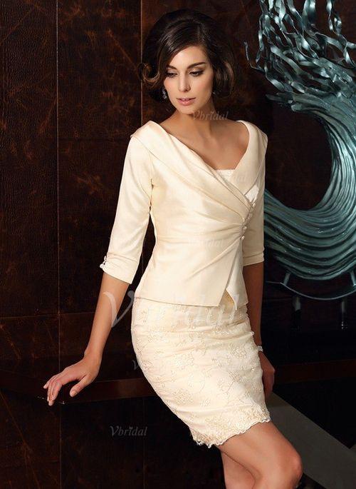 Kleider für die Brautmutter - $129.01 - Etui-Linie Trägerlos Kurz/Mini Taft Kleid für die Brautmutter mit Spitze (0085093521)
