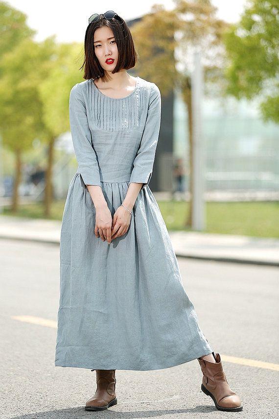 Blue Linen Dress  Long Maxi Casual Summer Loose-Fitting