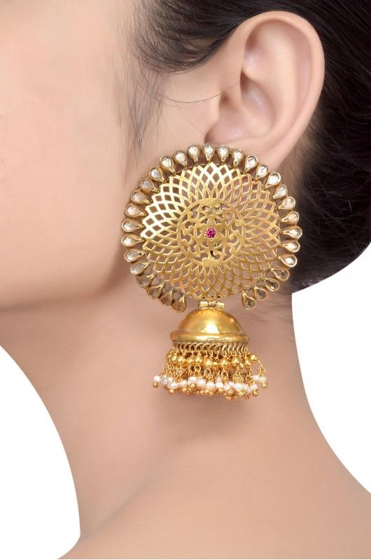 Silver Gold Plated Crystal Pearl Round Flower Jaali Jhumka #Indian #Jewellery