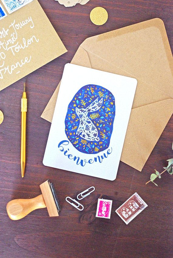 Carte Naissance Bienvenue Lapin  Illustration Lapin Fleurs #illustration #bunny #godsavetheteatime #etsy