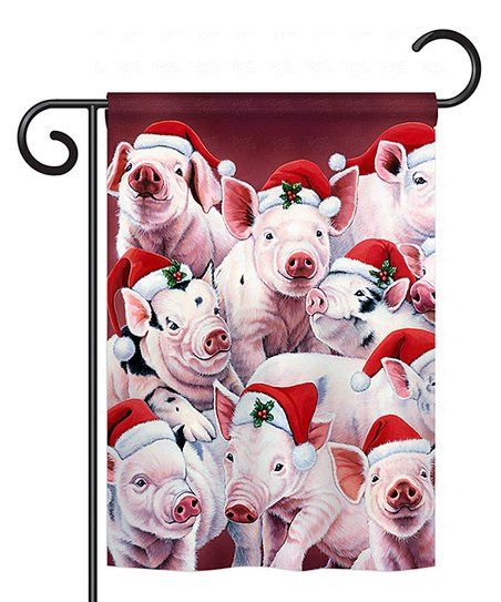 Christmas Piggies Outdoor Flag | zulily