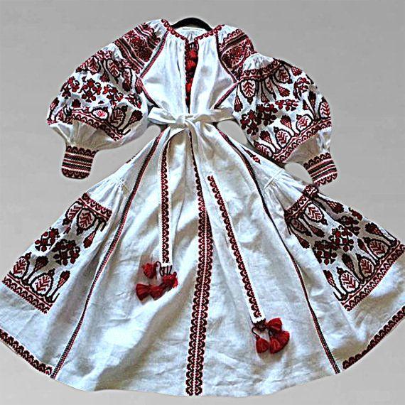 White Embroidered Dress Vita Kin style Ukrainian by YasneSvitlo