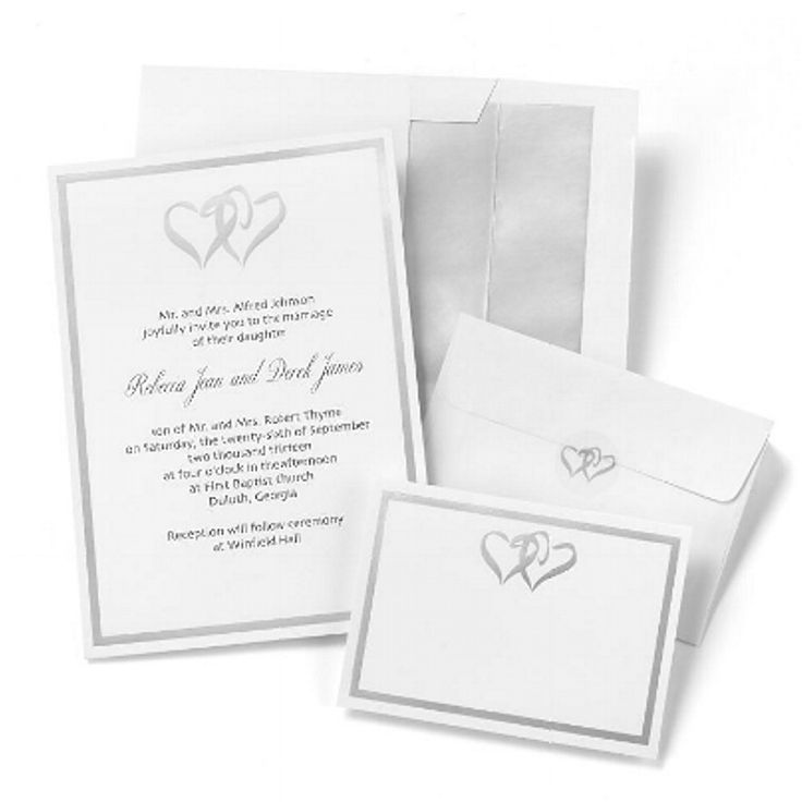 The 71 best party invitations do it yourself invitations wedding silver double hearts white invitations kit solutioingenieria Image collections