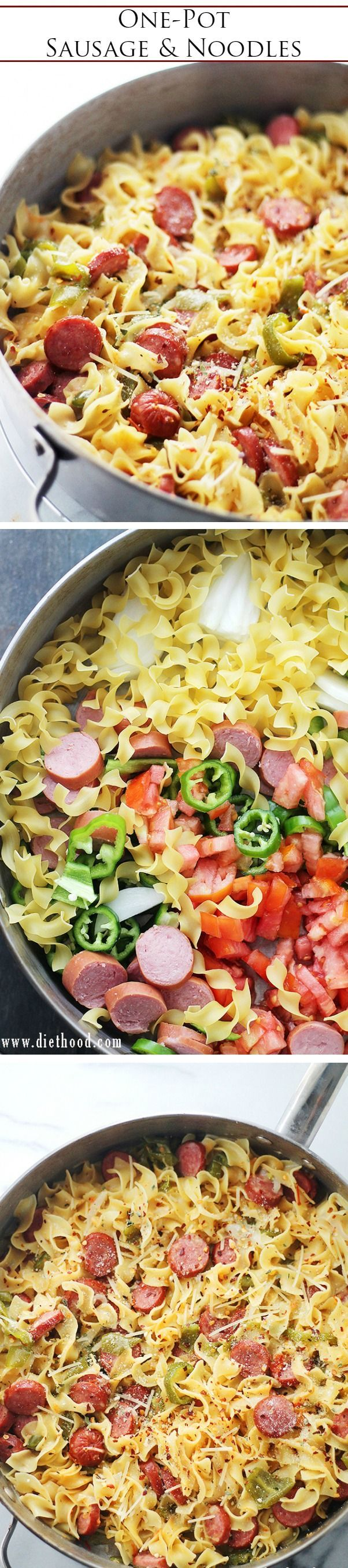 One-Pot Turkey Sausage and Noodles ~ Quick and easy, one-pot dinner with noodles, turkey sausage and fresh vegetables.