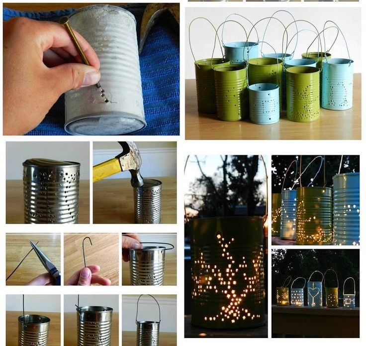cool tin can luminaries. Freeze water in can then punch design with nail pour out ice and paint out side of can