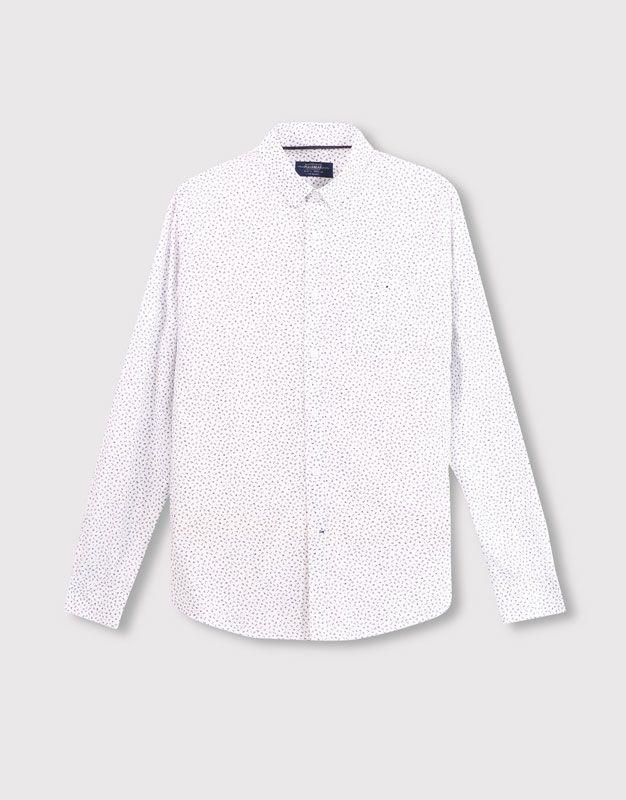 :FLOWER PRINTED WHITE SHIRT