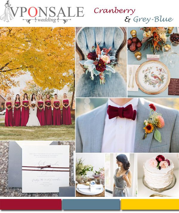 cranberry and grey blue fall wedding color scheme~