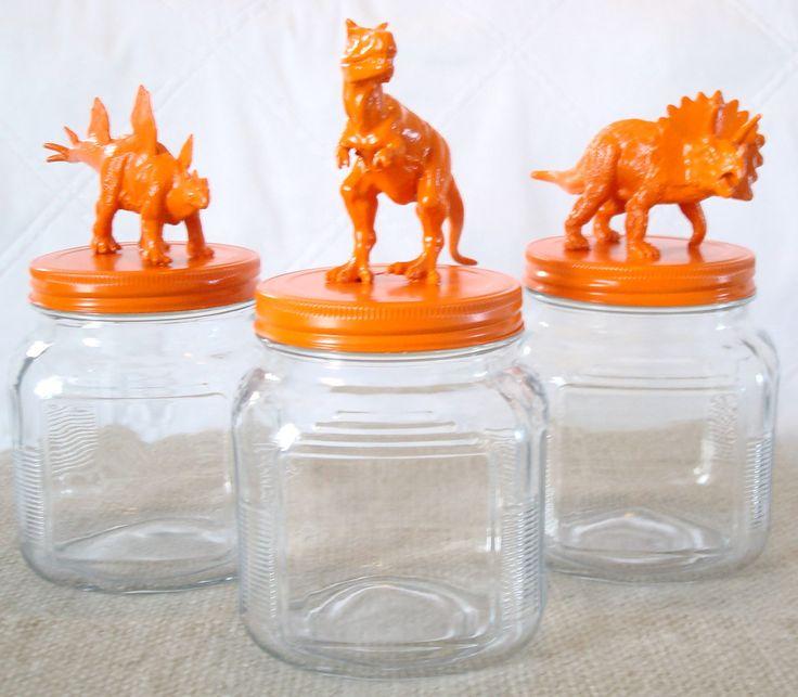 dinosaurs / orange / animals / storage / mason jars / tangerine tango / canisters / glass jars / t rex / animal jars / fathers day gift. $44.00, via Etsy.