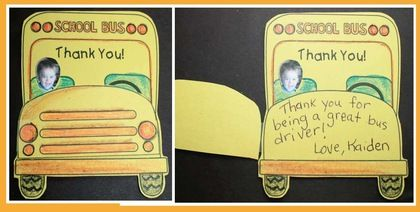 End of the year activities:  Thank a bus driver or other school staff with this sweet thank you bus card.
