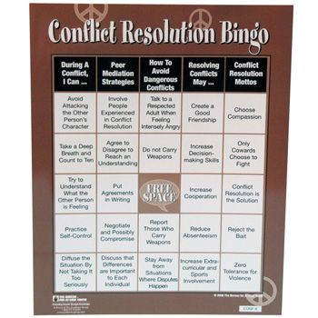 anger management coping skills for adults | Conflict Resolution Bingo Game