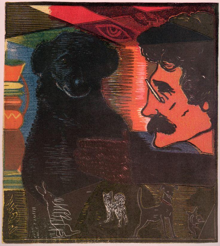 Josef Vachal: The World of My Dog, 1915, From Meditations About Life (World of Individuals) cycle: Cyklus dřevorytů chvalozpěvem velmi pěkným provázený; http://www.vachal.cz/ukazky/meditace/Svet_meho_psa_l.jpg