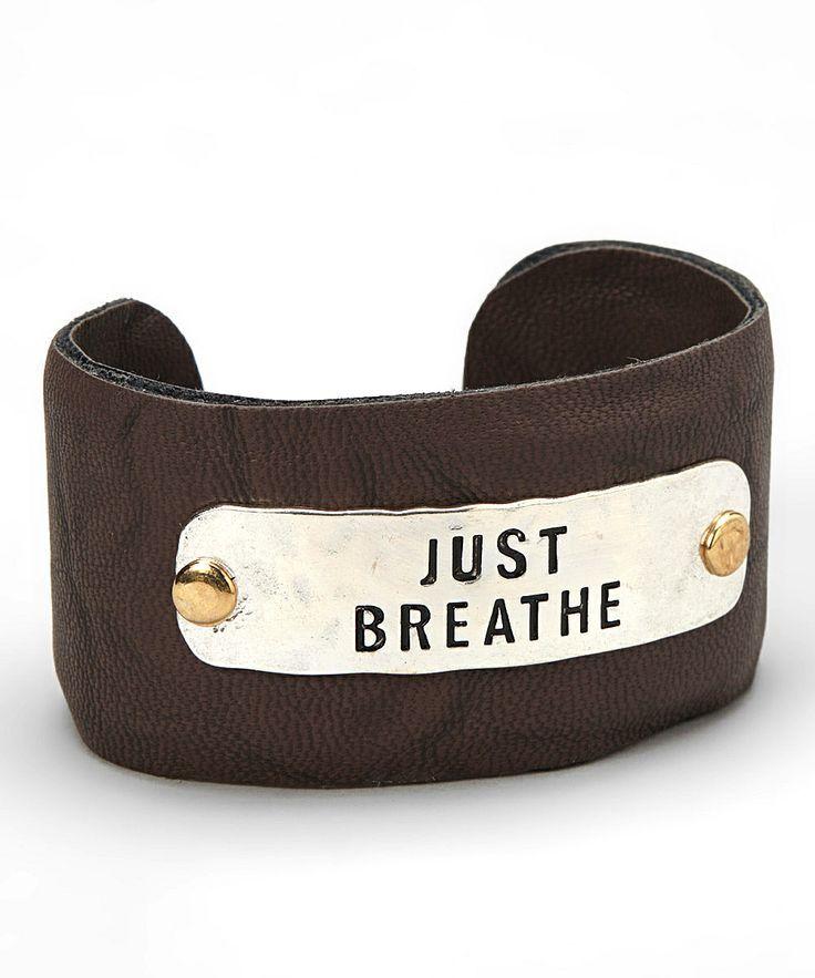 Silver & Brown 'Just Breathe' Cuff