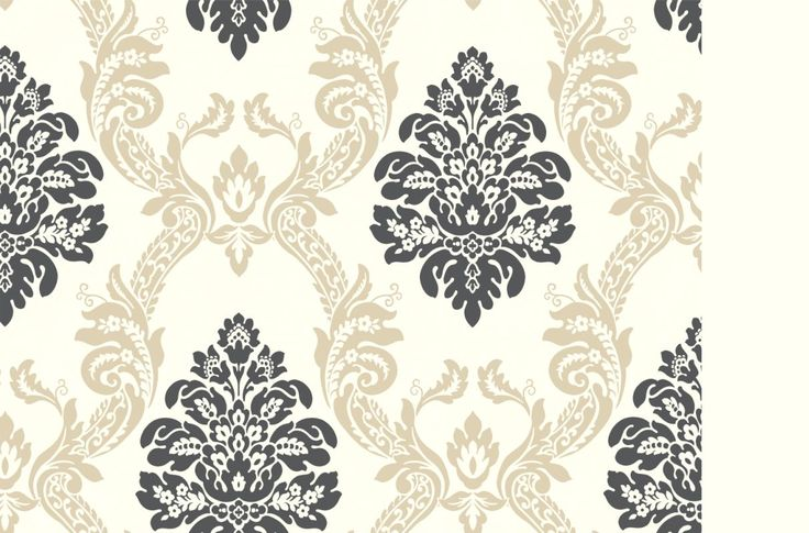 York Wallcoverings Ab2026 Black And White Ogee Damask