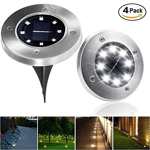 LIGHTPOOL Solar Ground Lights Lights for Patio Garden Pathway Outdoor in Ground Waterproof Stainless Steel Lights with 8 LED [4 Pack][White]