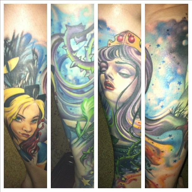 Alice in Wonderland/Sleeping Beauty leg sleeve - Sarah Miller at Wyld Chyld Tattoo Pittsburgh, PA