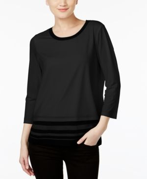 Calvin Klein Sweater-Trim Top - Black XS