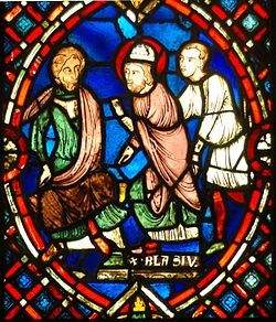saint blaise | Saint Blaise confronting the Roman governor - scene from a stained ...
