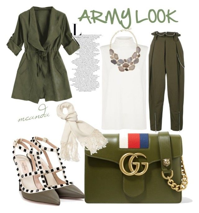 """Hijab : Army Look"" by mean-da on Polyvore featuring Gucci, Alexander Wang, The Row, Valentino and Helmut Lang"