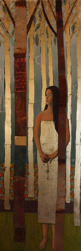 Amazing contempory #art. Found metals, #gold leaf, oil on #wood by Diana Woods.