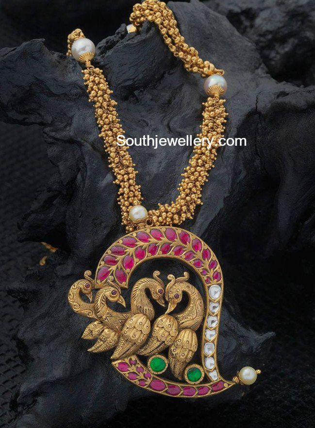 Antique Gold Necklace with Mango Peacock Pendant
