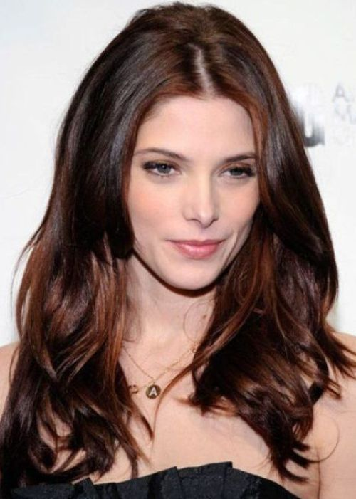 50 Best Brown Hair Color Ideas for 2014 | herinterest.com Actress Ashley Greene looks stunning with her mahogany and auburn brown locks. This beautiful blend of red and brown tones is vibrant and sexy, and it suits Ashley's fair complexion. Opt for darker shades of red to avoid a fire-engine red head of hair, and get a few copper highlights to brighten up your hair color.
