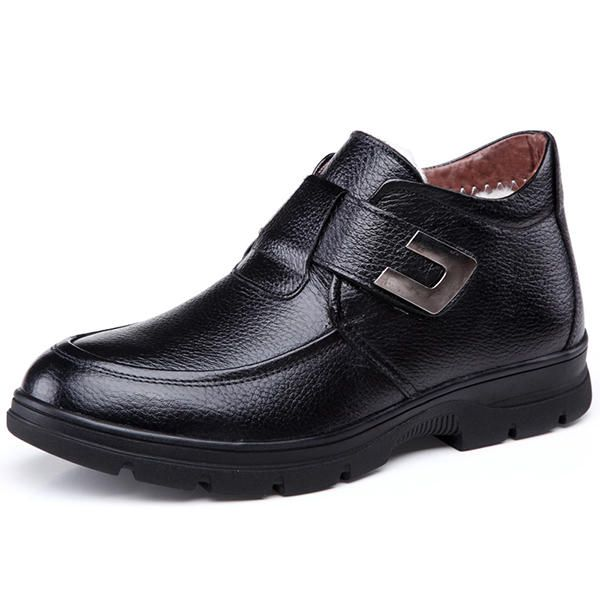 Men Casual Business Comfy Leather Warm Fur Lining Ankle Boots - US$49.99