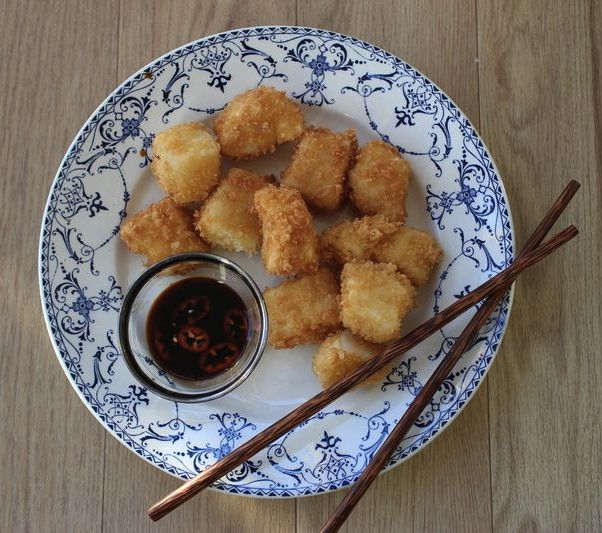 Crispy fish nuggets with a quick dipping sauce by Rachel Khoo.