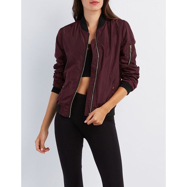 Charlotte Russe Zip-Up Bomber Jacket ($37) ❤ liked on Polyvore featuring outerwear, jackets, burgundy, woven jacket, lightweight bomber jacket, zip bomber jacket, burgundy jacket and bomber jackets