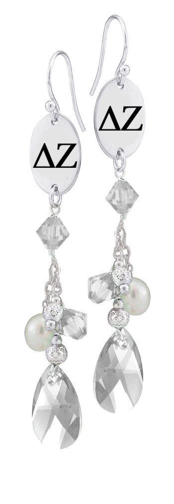 Delta Zeta Greek Letters Clear Crystal and Freshwater Pearl Earrings