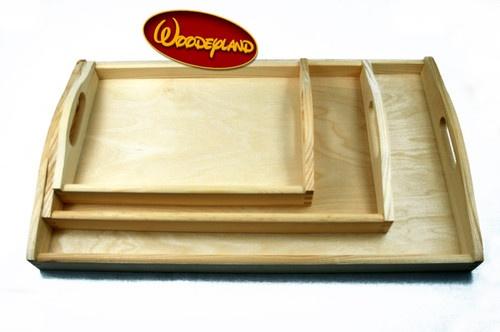 set of 3 trays small medium large wooden serving trays plain sanded wood ebay