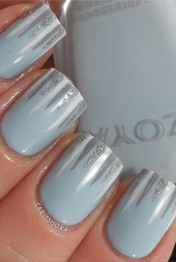 Add icicles to your winter nails for an adorable accent. Add icicles to your winter nails for an adorable accent. More: http://www.goodhousekeeping.com/beauty/nails/tips/g194/christmas-nail-art/?slide=2