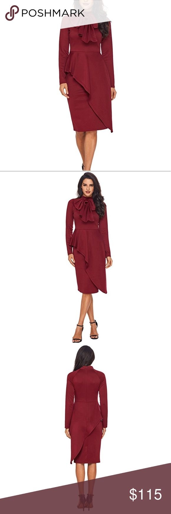 ❤️Red Bow Long-sleeve Dress❤️ Beautiful Red neck bow dress. Says size 14 but runs small. Fits a size 10/12. Beautifully eventuating curves and covers mid section with peplum. Very classy, chic and rare design. Long sleeve. You'll definitely get lots of compliments on this unique style dress. Brand new. Dresses Midi