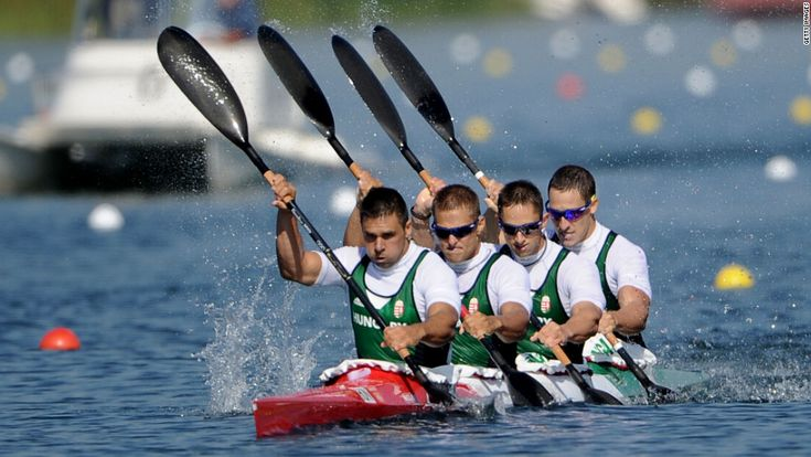 8/9/12 - Hungary's Zoltan Kammerer, Tamas Kulifai, David Toth and Daniel Pauman compete during the men's kayak four 1,000-meter canoe sprint at Eton Dorney in Windsor, England. The Hungarian crew went on to win the silver.