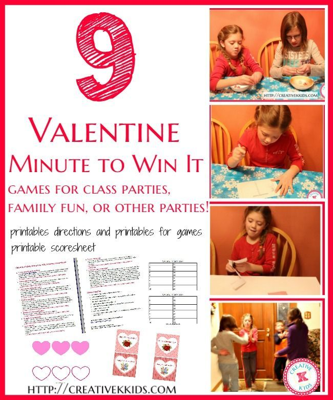 Minute It to Win It Games for Valentine's Day ~ Perfect for class parties, or just family fun! Printables and directions are included!