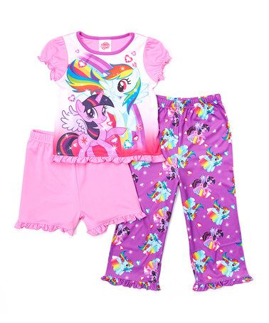 Look what I found on #zulily! Purple My Little Pony Three-Piece Sleep Pant Set - Toddler #zulilyfinds