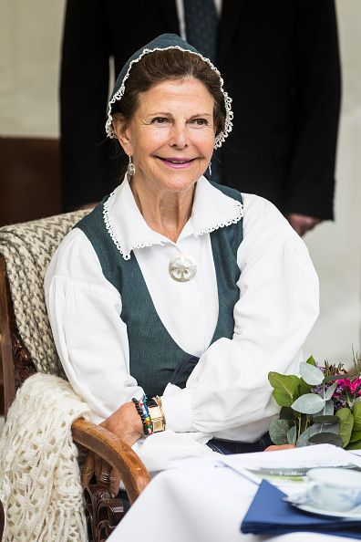 Queen Silvia of Sweden attends a pensioners day at Ekebyhovs Castle on August 23, 2017 in Stockholm, Sweden.