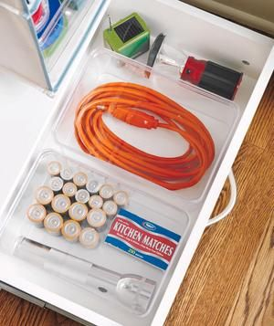 Utility closet must-have: A freestanding drawer, which can hold items you need at a moment's notice, like batteries, matches, and a hand-cranked radio.