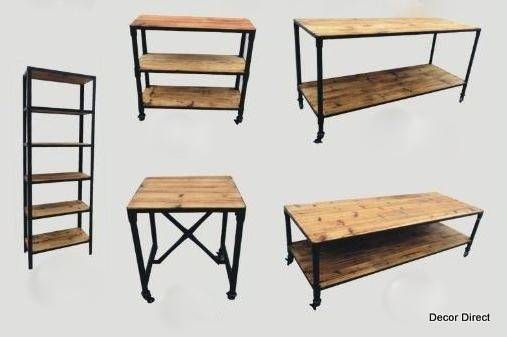 Industrial Retail Fixtures, Carts and Tables: Made from Reclaimed Hardwood and Distressed Metal Bases.