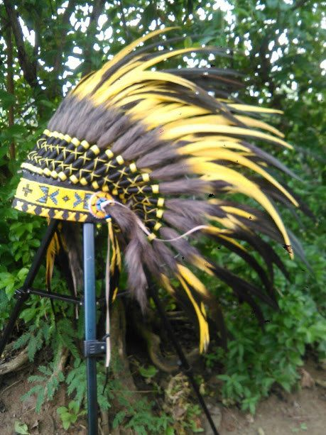 PRICE REDUCED Yellow Kids Warbonnet by TheLandOfCockaigne on Etsy