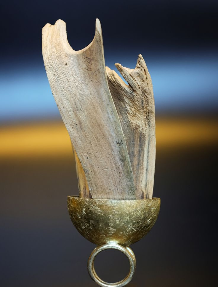 """from the collection """"NYKIRKA-NORSE UPHEAVEL""""  polished brass, norwegian wood"""