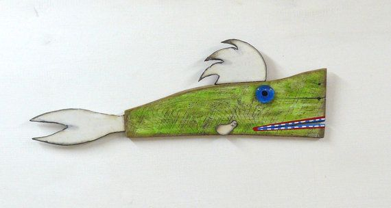 SUSHI Ormon #2 is a well known TV personality, entrepenuer and financial guru of the underwater world. She was created using found wood, fins cut from an old washing machine, a glass nugget eye and acrylic paint.    She is 23 x 7 1/2 is signed on the back and ready to be hung.    **** Shipping is an estimate please contact me for an accurate quote....thanks