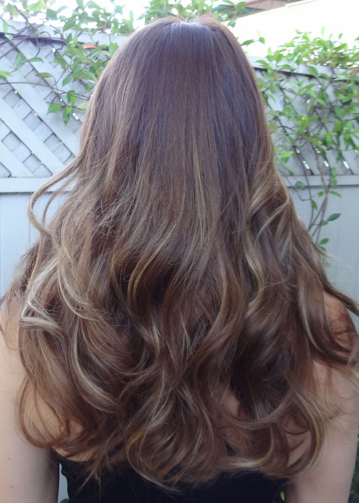 brunette hair with super thin and different shades of blonde highlights x3 ie dark blond, medium blonde and a few sparse white blonde, to give a super natural look