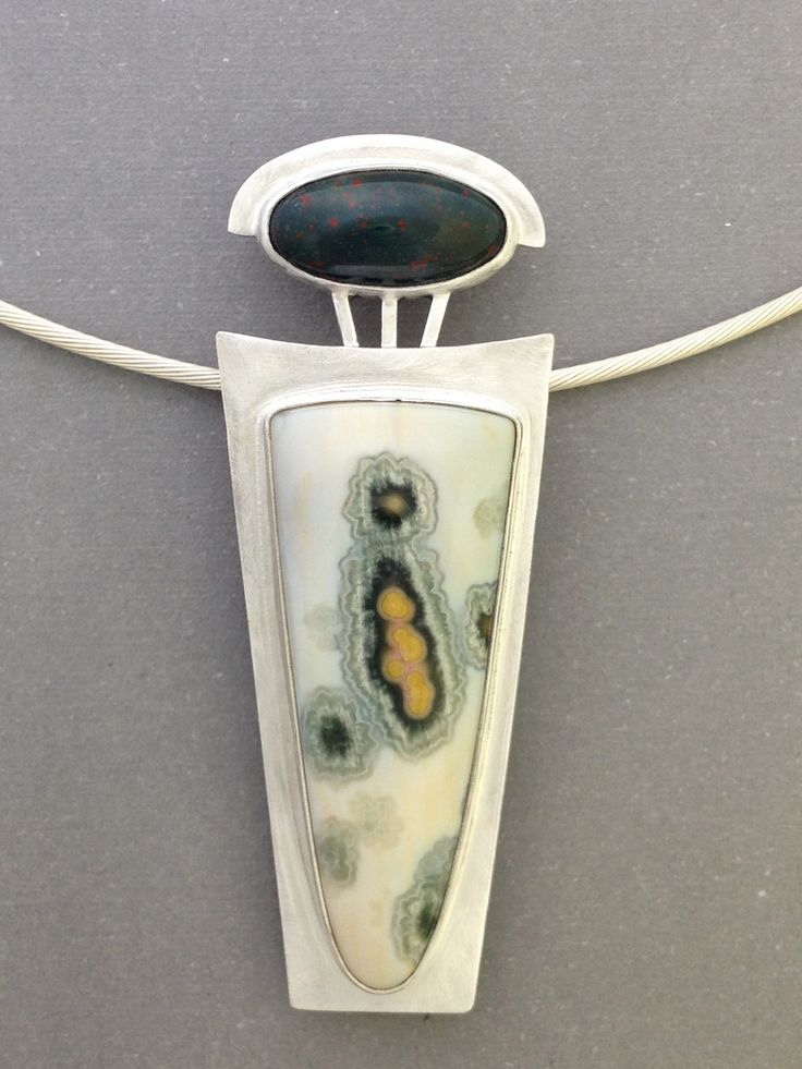 Mollie Stauss, Lyons, CO,owner MD Stauss Designs Etsy shop. Sterling Silver, Ocean Jasper, & Bloodstone Pendant on Sterling Cable Neckwire. $248.00, via Etsy.